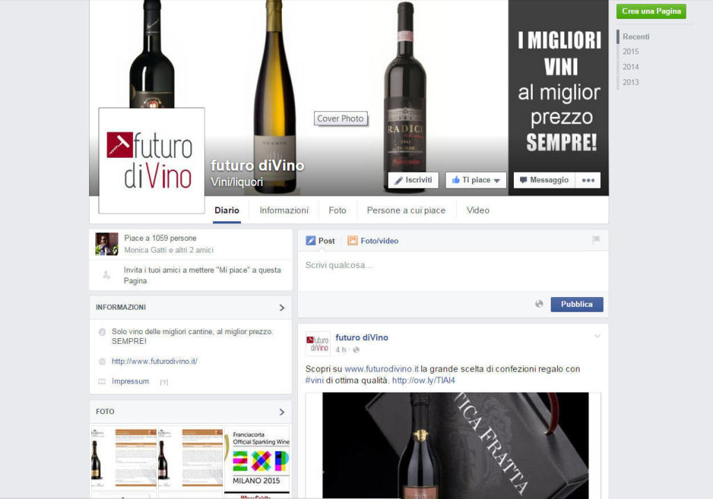 Futuro diVino - Gestione e Creazione di contenuti per Social Network Marketing Condivisione LQ