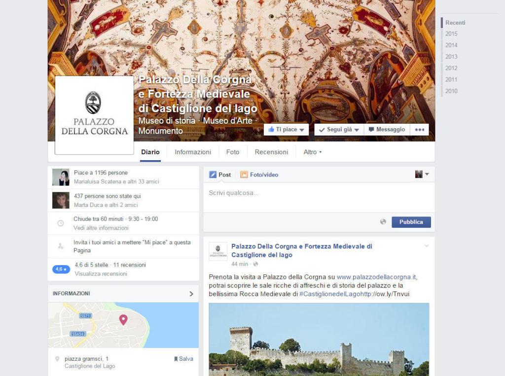 Palazzo della Corgna - Gestione pagina social network e creazione contenuti LQ