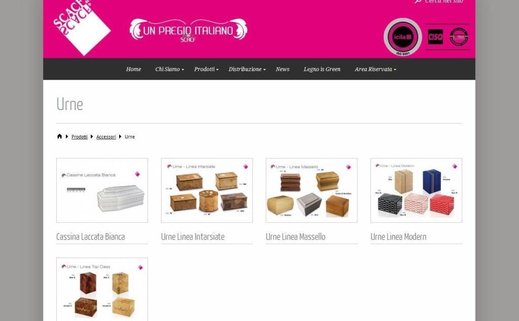SCACF realizzazione sito web gamma accessori funerari LQ