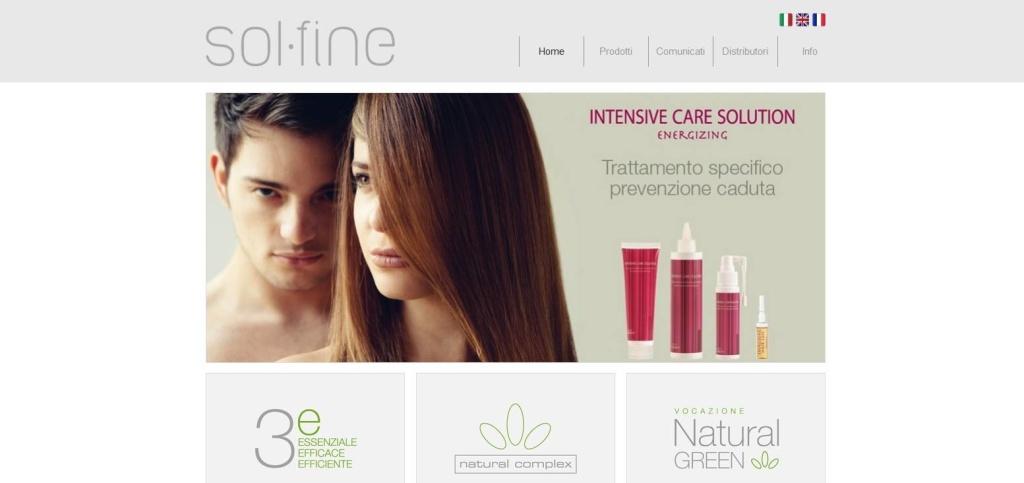 Solfine homepage sito web prodotti per capelli LQ