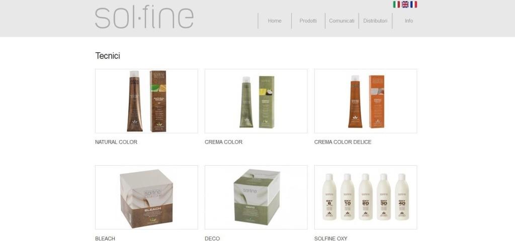 Solfine realizzazione sito web  gamma prodotti per capelli LQ