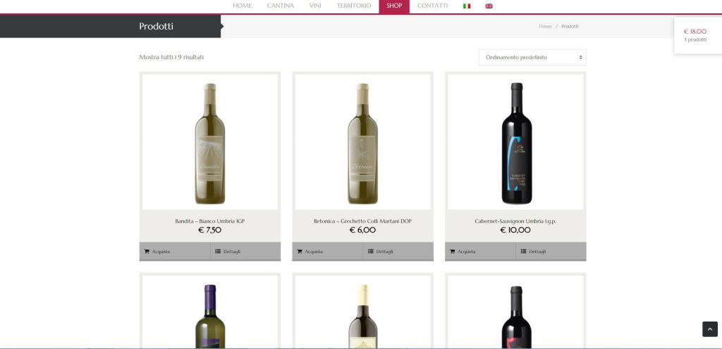 Cantine Bettona realizzazione e-shop online cantina  vini vino LQ