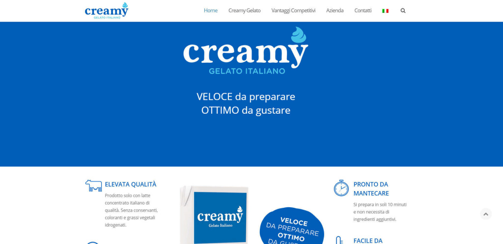 Creamy Gelato Italiano - Sito Web Responsive Realizzazione Gelateria LQ