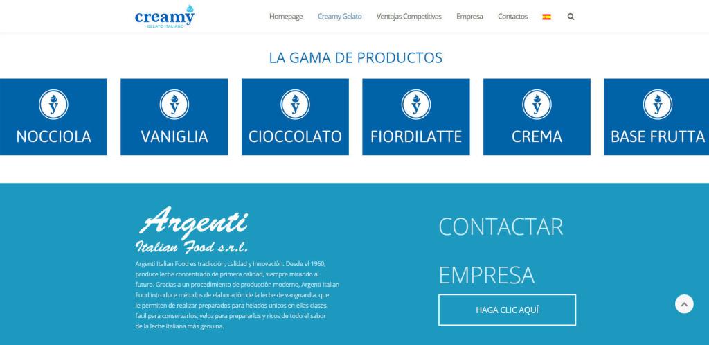 Creamy Gelato Italiano - Sito web in spagnolo inglese agenzia realizzazione LQ