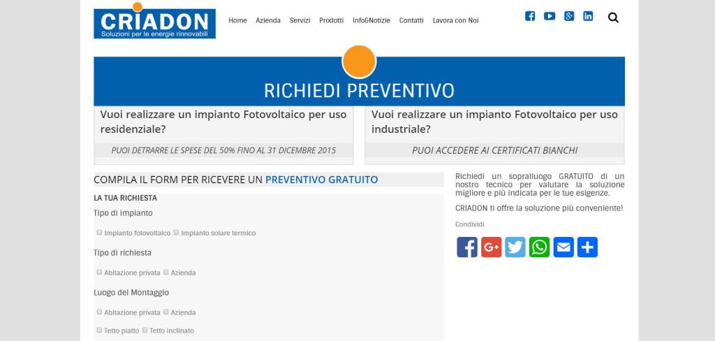 Criadon richieste preventivi online gratuite realizzazione social LQ