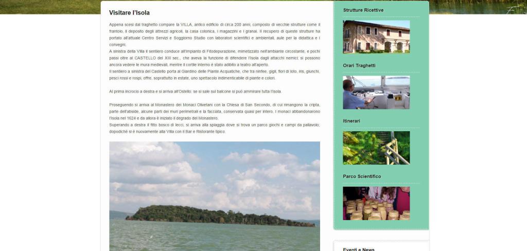 Isola Polvese creazione sito web con informazioni turistiche LQ