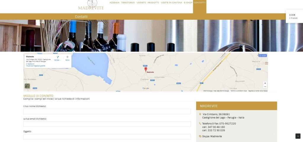 Madrevite realizzazione sito web modulo contatti cantina LQ