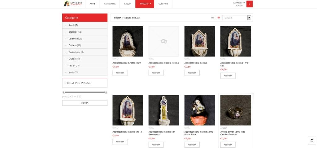 Santa Rita Souvernirs Shop Online e-commerce prodotti sacri